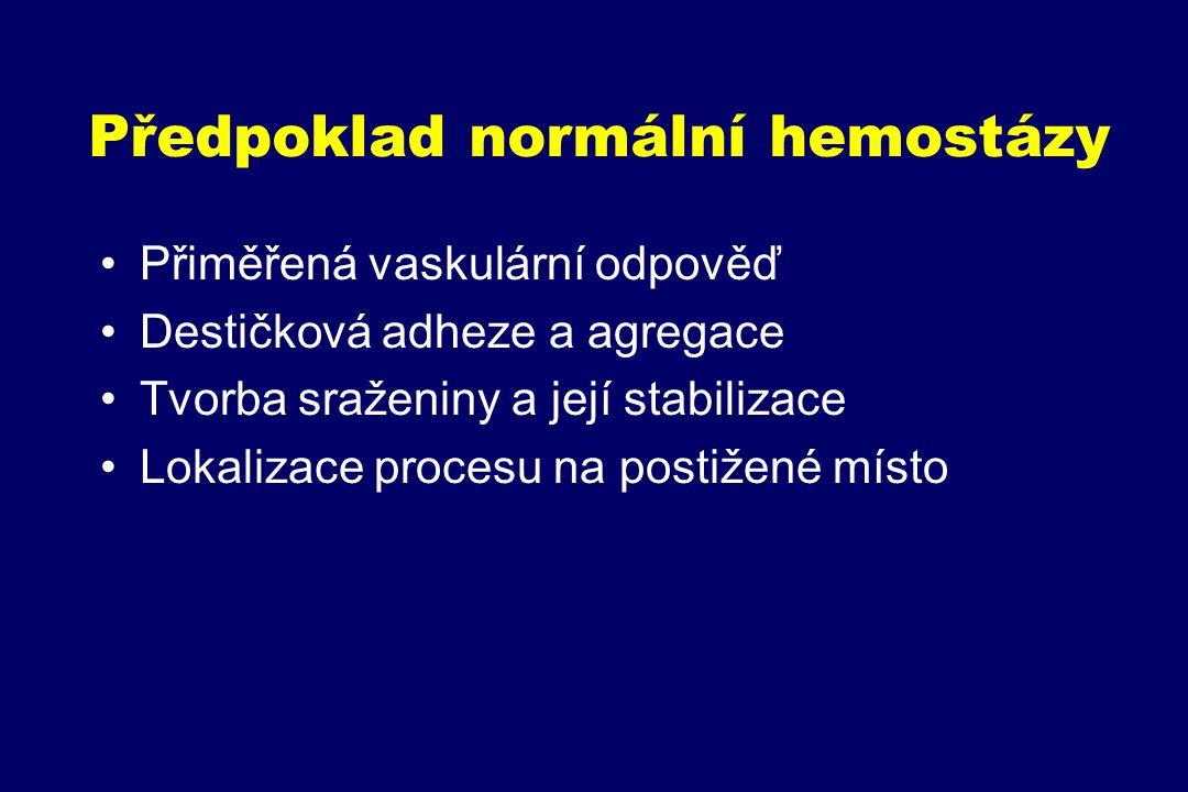 Schéma plazmatické koagulace a fibrinolýzy (tenáza, protrombináza) XII XIIa TF VII XI XIa VIIa IX IXa X X XIII II XIIIa FBG Fs Fi Plg PL t-PA FDP (DD) Pl VIIIa X Pl Va IIa AT H