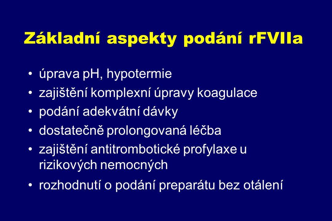 Základní aspekty podání rFVIIa úprava pH, hypotermie zajištění komplexní úpravy koagulace podání adekvátní dávky dostatečně prolongovaná léčba zajiště