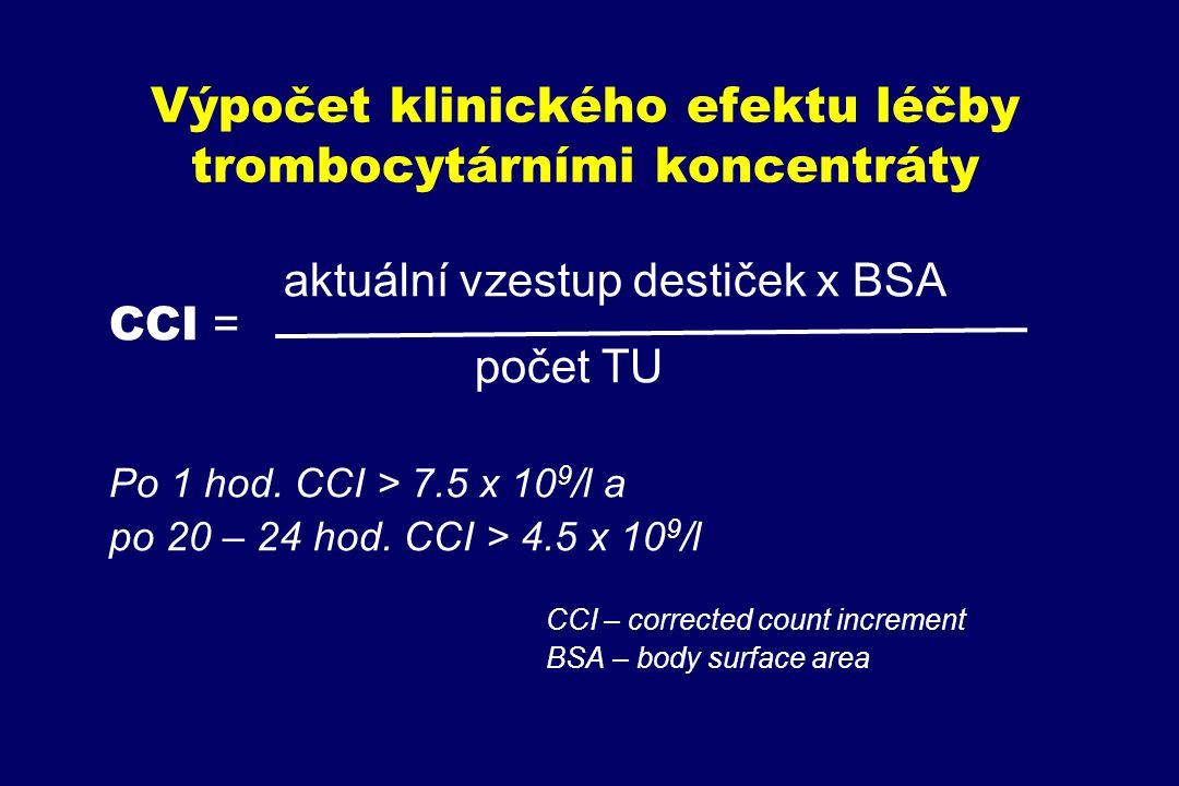 Výpočet klinického efektu léčby trombocytárními koncentráty aktuální vzestup destiček x BSA CCI = počet TU Po 1 hod. CCI > 7.5 x 10 9 /l a po 20 – 24