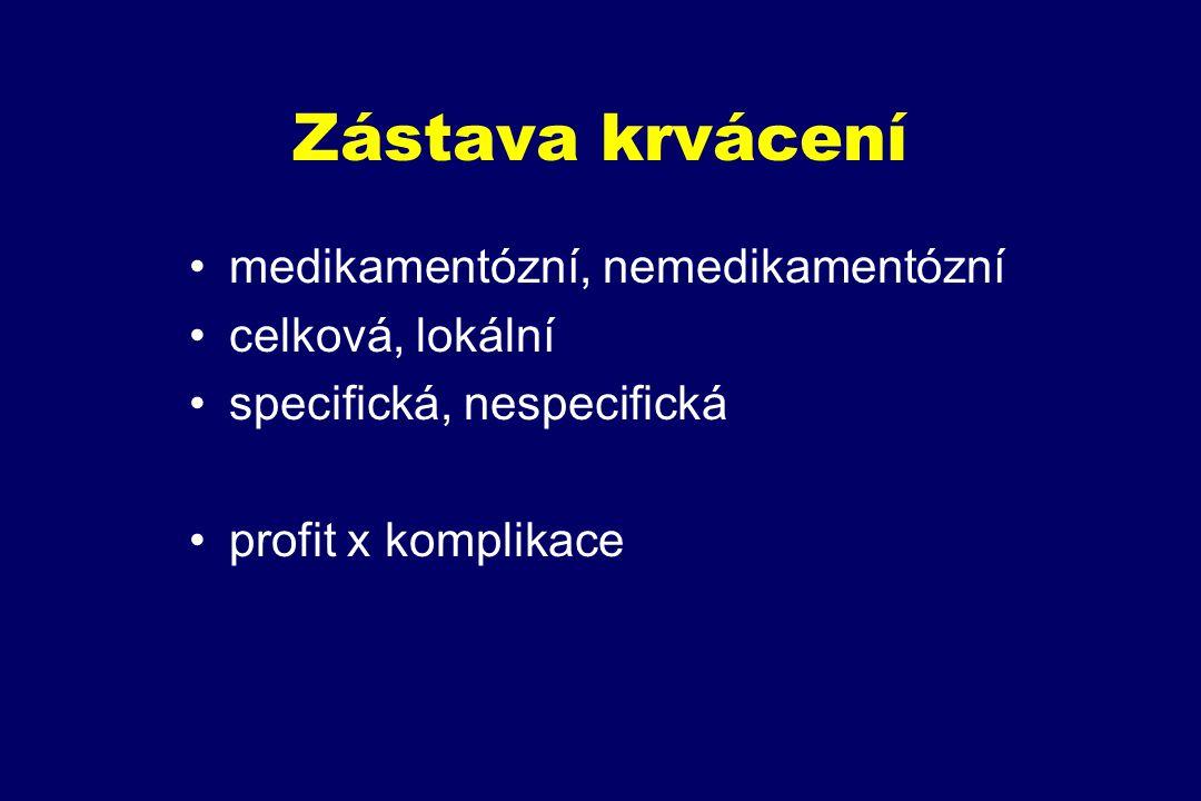 Zástava krvácení medikamentózní, nemedikamentózní celková, lokální specifická, nespecifická profit x komplikace