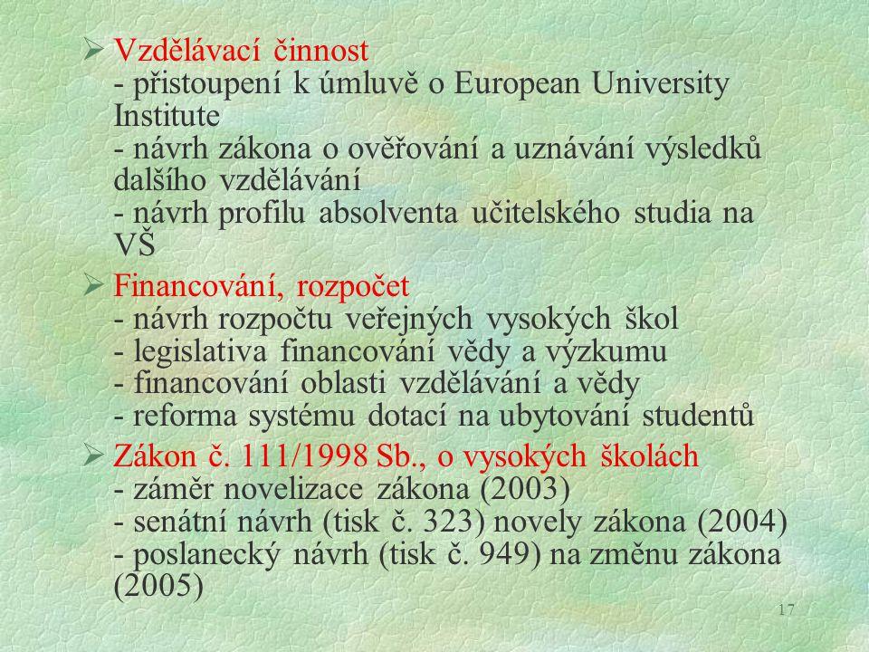 17  Vzdělávací činnost - přistoupení k úmluvě o European University Institute - návrh zákona o ověřování a uznávání výsledků dalšího vzdělávání - náv