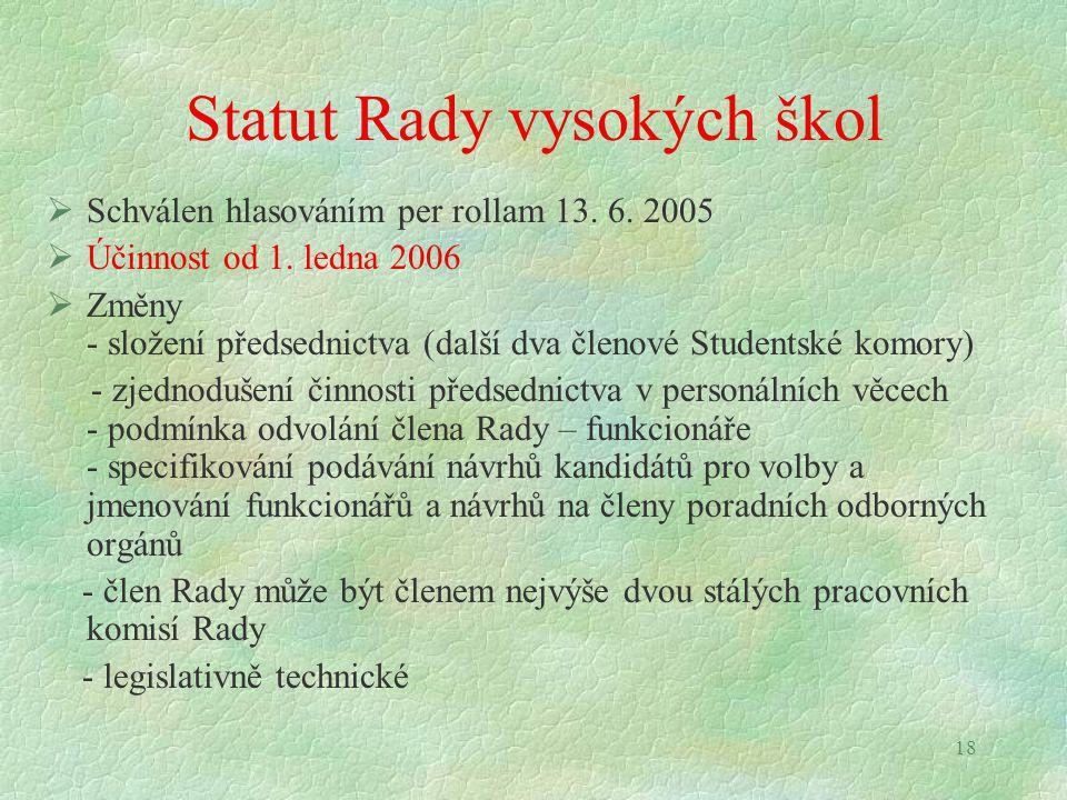 18 Statut Rady vysokých škol  Schválen hlasováním per rollam 13. 6. 2005  Účinnost od 1. ledna 2006  Změny - složení předsednictva (další dva členo