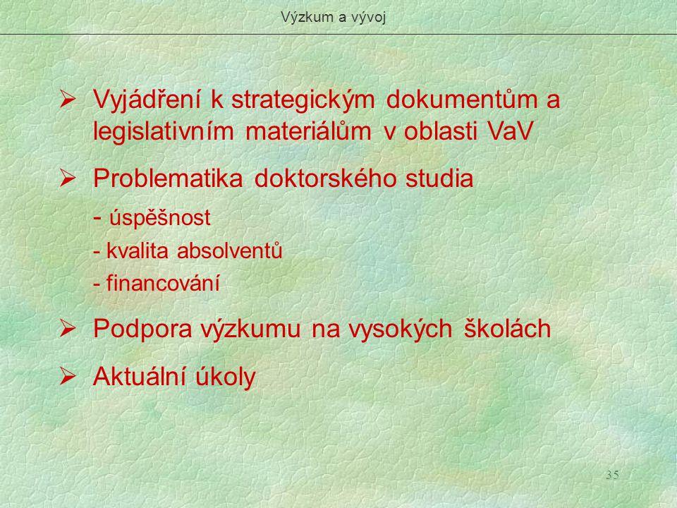 35  Vyjádření k strategickým dokumentům a legislativním materiálům v oblasti VaV  Problematika doktorského studia - úspěšnost - kvalita absolventů -