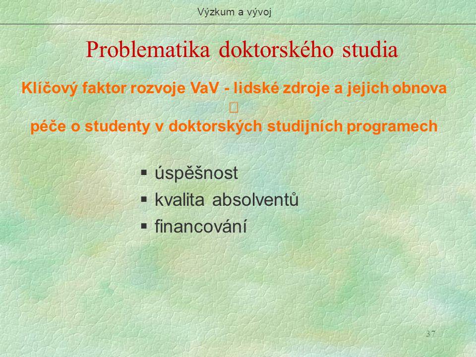 37 Problematika doktorského studia Výzkum a vývoj Klíčový faktor rozvoje VaV - lidské zdroje a jejich obnova  péče o studenty v doktorských studijníc