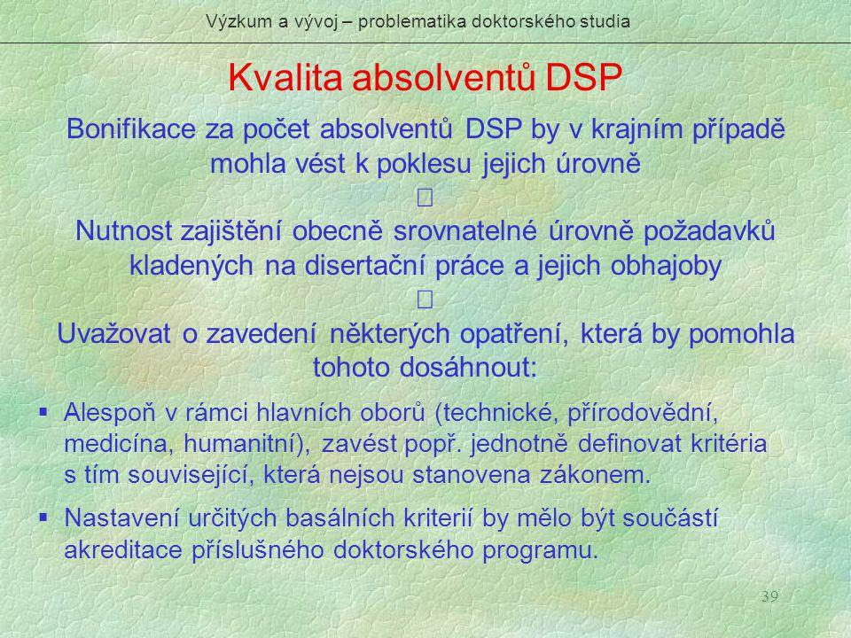39 Kvalita absolventů DSP Výzkum a vývoj – problematika doktorského studia Bonifikace za počet absolventů DSP by v krajním případě mohla vést k pokles