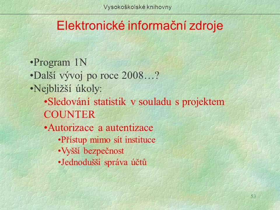 53 Elektronické informační zdroje Vysokoškolské knihovny Program 1N Další vývoj po roce 2008…? Nejbližší úkoly: Sledování statistik v souladu s projek