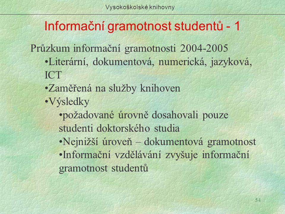 54 Informační gramotnost studentů - 1 Vysokoškolské knihovny Průzkum informační gramotnosti 2004-2005 Literární, dokumentová, numerická, jazyková, ICT