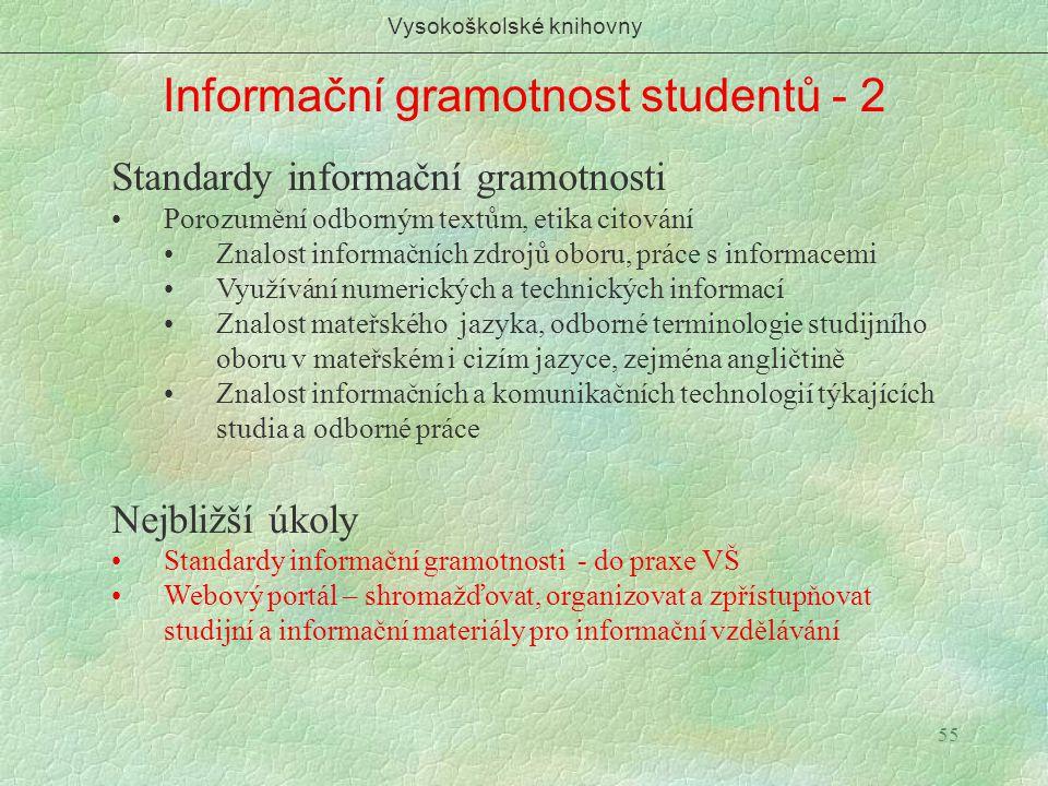 55 Informační gramotnost studentů - 2 Vysokoškolské knihovny Standardy informační gramotnosti Porozumění odborným textům, etika citování Znalost infor