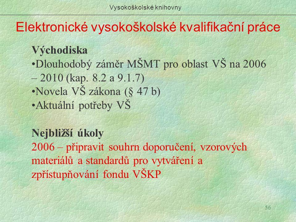 56 Elektronické vysokoškolské kvalifikační práce Vysokoškolské knihovny Východiska Dlouhodobý záměr MŠMT pro oblast VŠ na 2006 – 2010 (kap. 8.2 a 9.1.