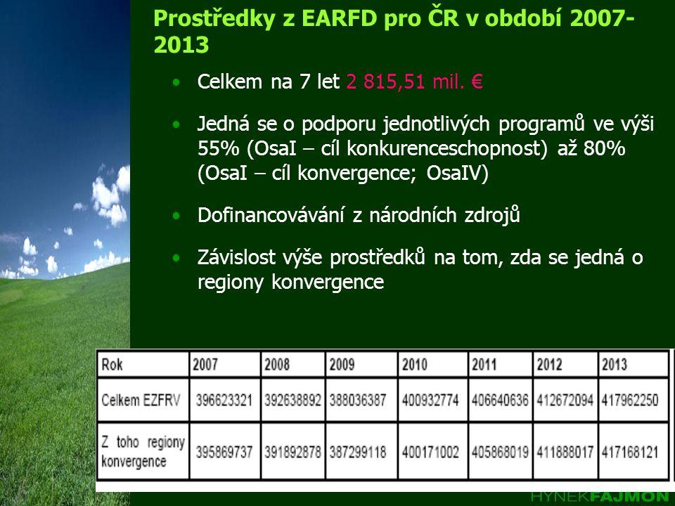 Prostředky z EARFD pro ČR v období 2007- 2013 Celkem na 7 let 2 815,51 mil.
