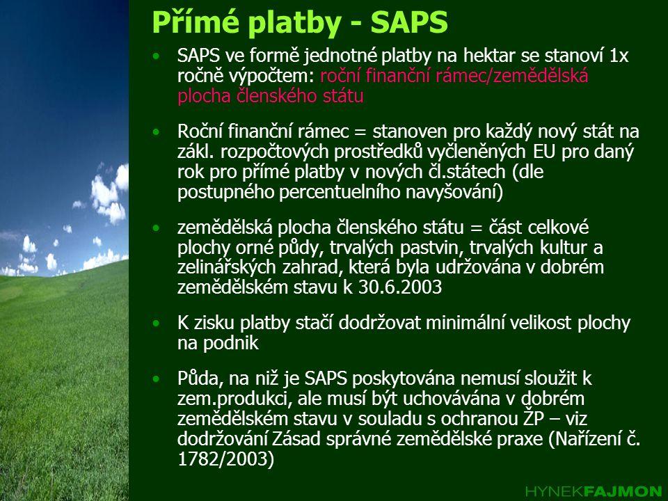 Přímé platby - SAPS SAPS ve formě jednotné platby na hektar se stanoví 1x ročně výpočtem: roční finanční rámec/zemědělská plocha členského státu Roční finanční rámec = stanoven pro každý nový stát na zákl.