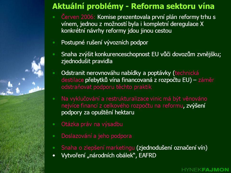 """Aktuální problémy - Reforma sektoru vína Červen 2006: Komise prezentovala první plán reformy trhu s vínem, jednou z možností byla i kompletní deregulace X konkrétní návrhy reformy jdou jinou cestou Postupné rušení vývozních podpor Snaha zvýšit konkurenceschopnost EU vůči dovozům zvnějšku; zjednodušit pravidla Odstranit nerovnováhu nabídky a poptávky (technická destilace přebytků vína financovaná z rozpočtu EU) – záměr odstraňovat podporu těchto praktik Na vyklučování a restrukturalizace vinic má být věnováno nejvíce financí z celkového rozpočtu na reformu, zvýšení podpory za opuštění hektaru Otázka práv na výsadbu Doslazování a jeho podpora Snaha o zlepšení marketingu (zjednodušení označení vín) Vytvoření """"národních obálek , EAFRD"""