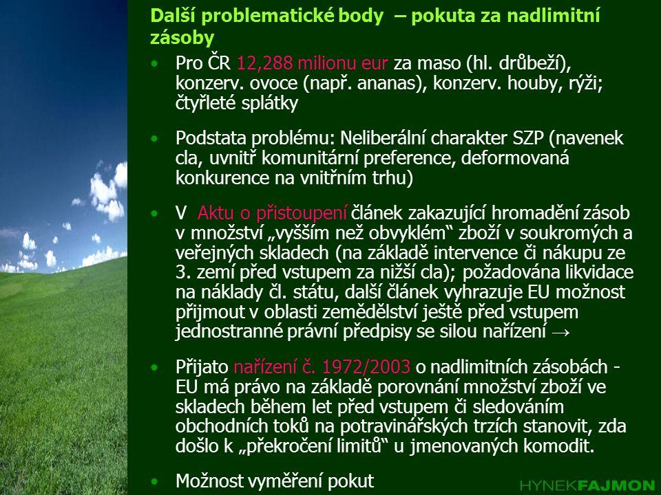 Další problematické body – pokuta za nadlimitní zásoby Pro ČR 12,288 milionu eur za maso (hl.