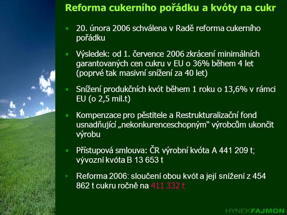 Reforma cukerního pořádku a kvóty na cukr 20.