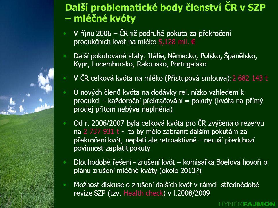 Další problematické body členství ČR v SZP – mléčné kvóty V říjnu 2006 – ČR již podruhé pokuta za překročení produkčních kvót na mléko 5,128 mil.