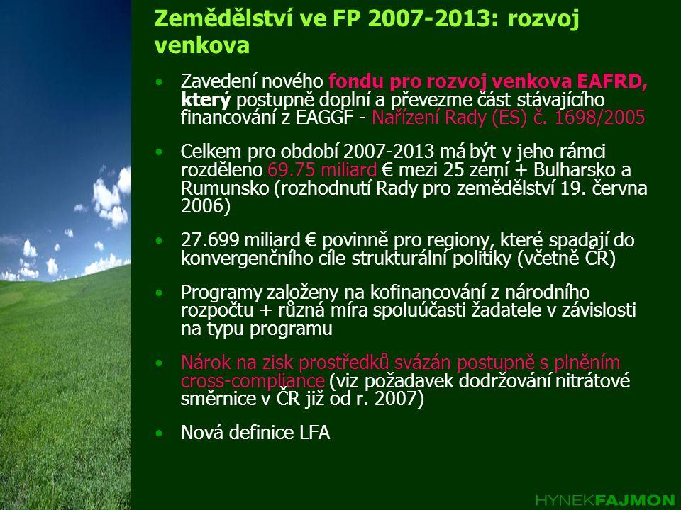 Zemědělství ve FP 2007-2013: rozvoj venkova Zavedení nového fondu pro rozvoj venkova EAFRD, který postupně doplní a převezme část stávajícího financování z EAGGF - Nařízení Rady (ES) č.
