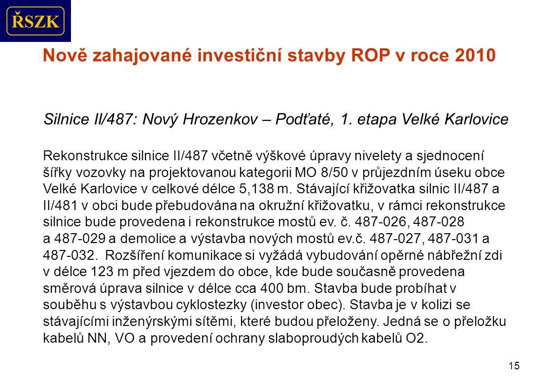 15 Nově zahajované investiční stavby ROP v roce 2010 Silnice II/487: Nový Hrozenkov – Podťaté, 1.