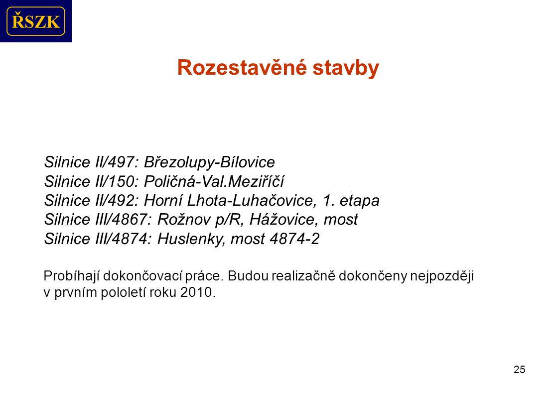 25 Rozestavěné stavby Silnice II/497: Březolupy-Bílovice Silnice II/150: Poličná-Val.Meziříčí Silnice II/492: Horní Lhota-Luhačovice, 1.