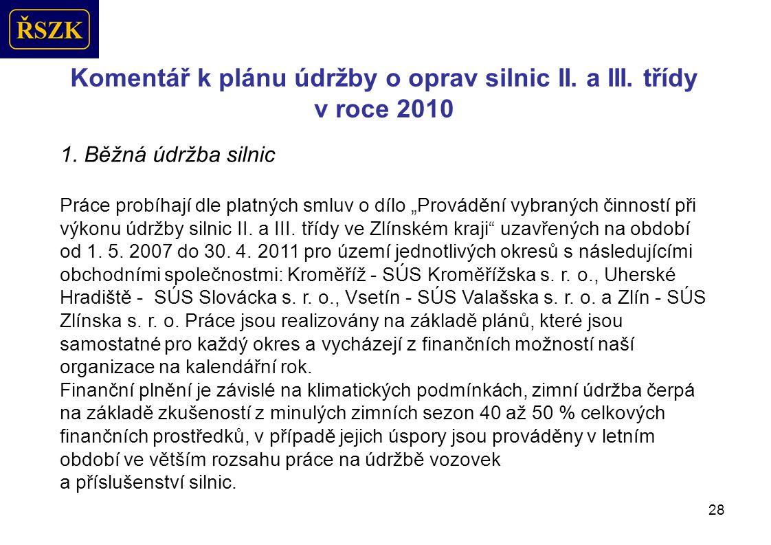28 Komentář k plánu údržby o oprav silnic II.a III.