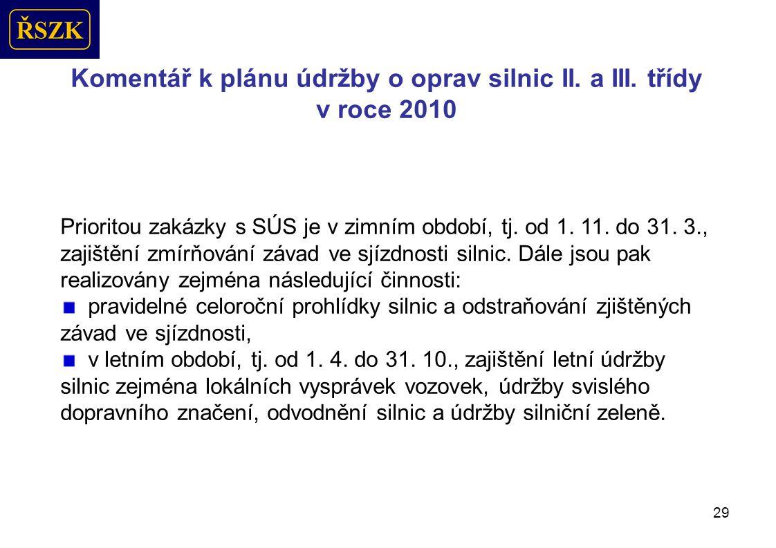 29 Komentář k plánu údržby o oprav silnic II.a III.