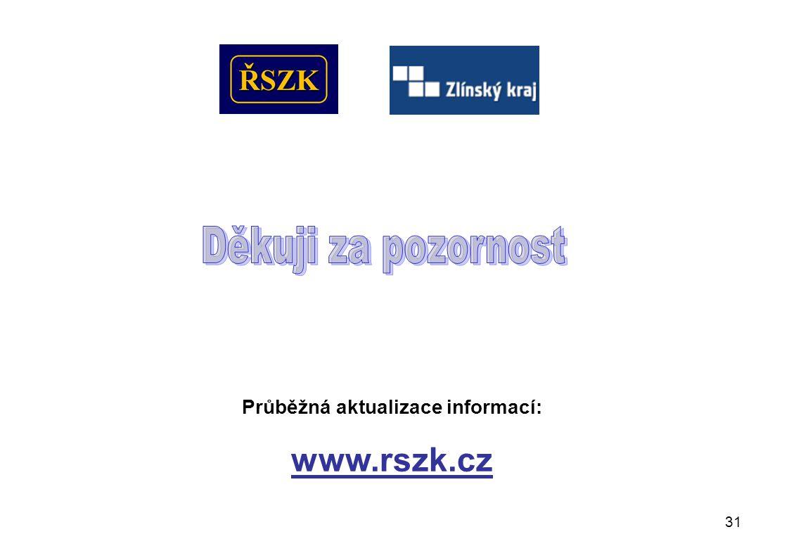 31 Průběžná aktualizace informací: www.rszk.cz