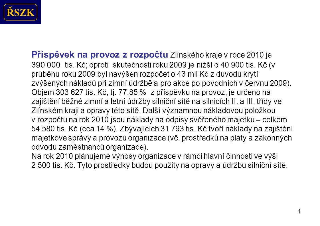 4 Příspěvek na provoz z rozpočtu Zlínského kraje v roce 2010 je 390 000 tis.