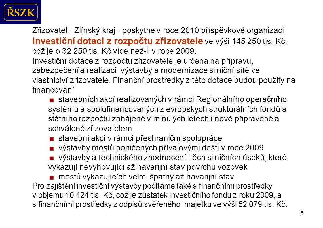 5 Zřizovatel - Zlínský kraj - poskytne v roce 2010 příspěvkové organizaci investiční dotaci z rozpočtu zřizovatele ve výši 145 250 tis.