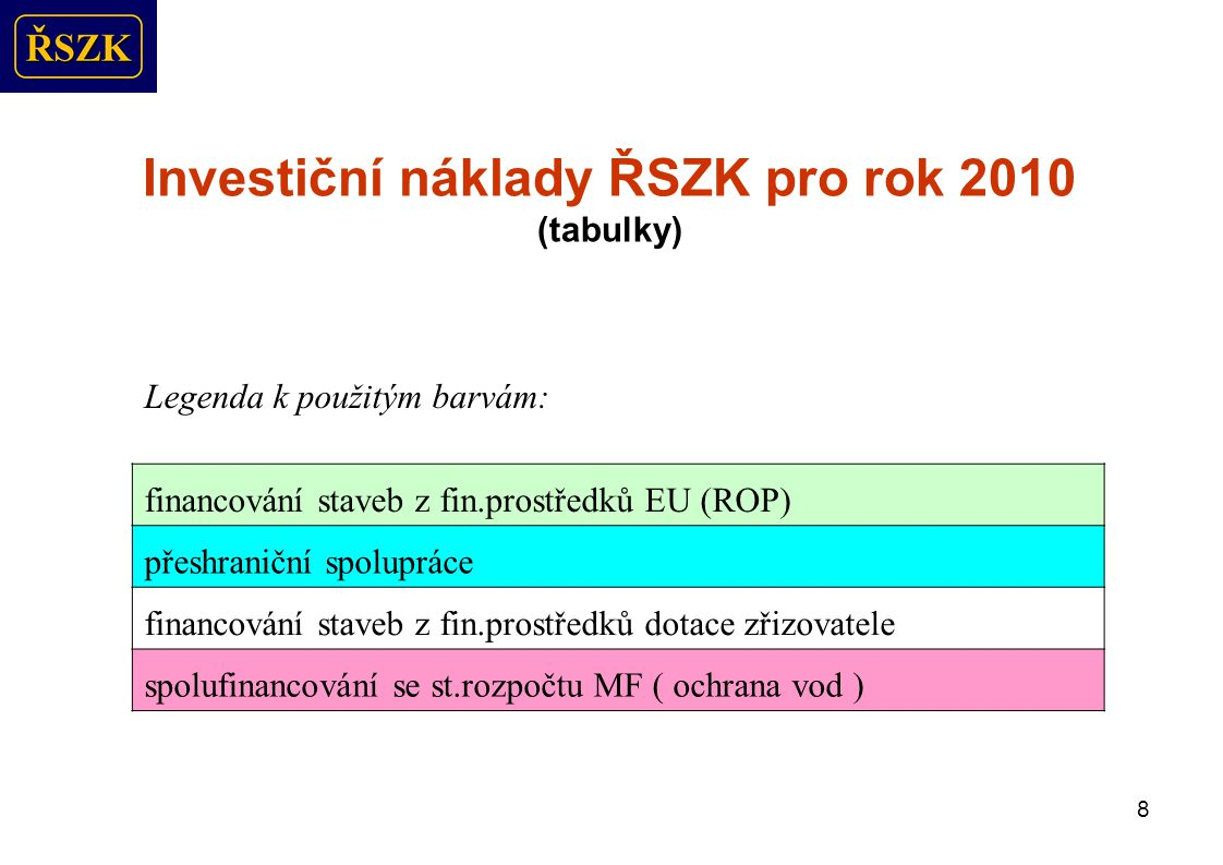 8 Investiční náklady ŘSZK pro rok 2010 (tabulky) Legenda k použitým barvám: financování staveb z fin.prostředků EU (ROP) přeshraniční spolupráce financování staveb z fin.prostředků dotace zřizovatele spolufinancování se st.rozpočtu MF ( ochrana vod )