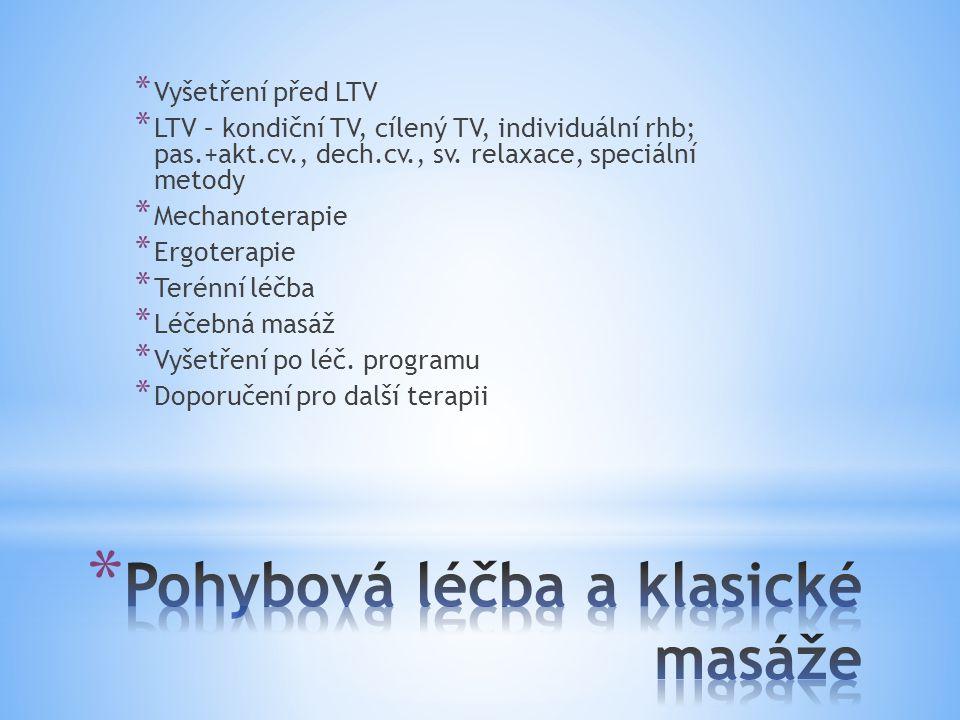 * Vyšetření před LTV * LTV – kondiční TV, cílený TV, individuální rhb; pas.+akt.cv., dech.cv., sv. relaxace, speciální metody * Mechanoterapie * Ergot