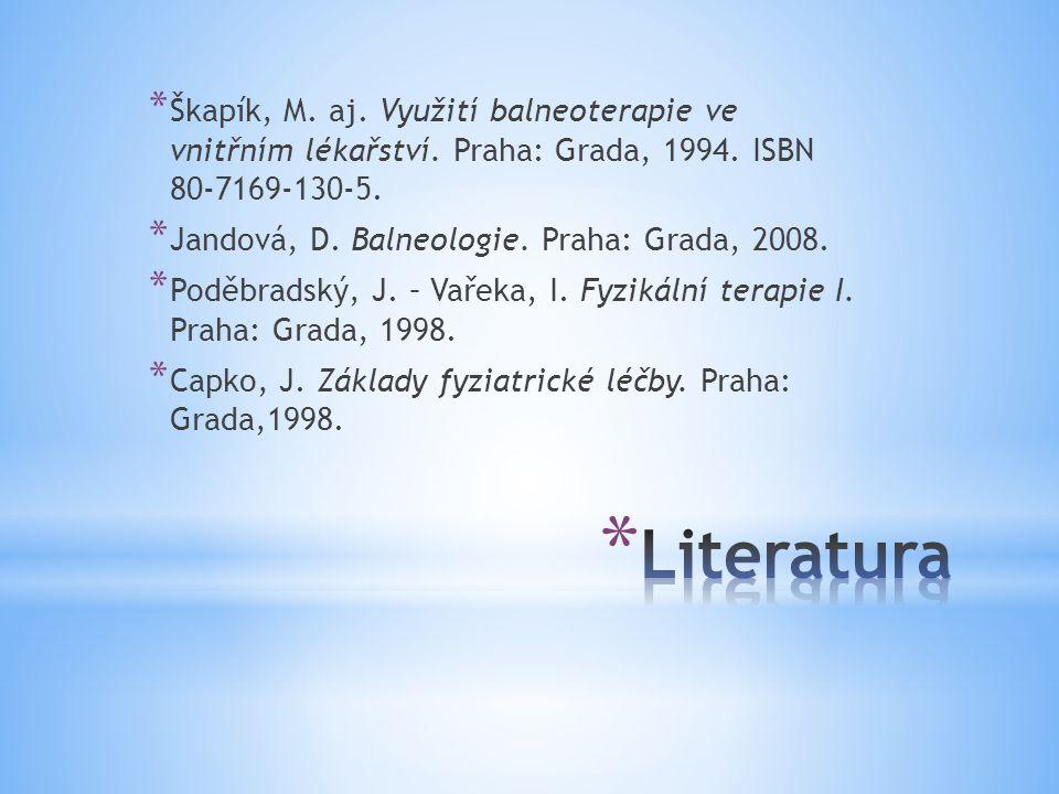 * Škapík, M. aj. Využití balneoterapie ve vnitřním lékařství. Praha: Grada, 1994. ISBN 80-7169-130-5. * Jandová, D. Balneologie. Praha: Grada, 2008. *