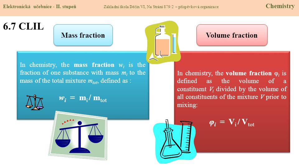 6.7 CLIL Elektronická učebnice - II. stupeň Základní škola Děčín VI, Na Stráni 879/2 – příspěvková organizace Chemistry Mass fraction In chemistry, th