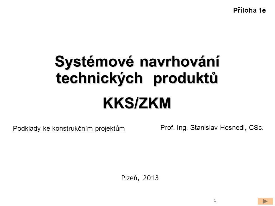 Systémové navrhování technických produktů KKS/ZKM Prof. Ing. Stanislav Hosnedl, CSc. Podklady ke konstrukčním projektům Plzeň, 2013 Příloha 1e 1