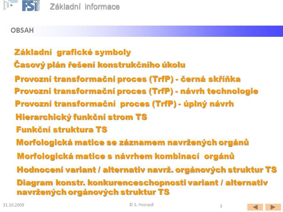 Provozní transformační proces (TrfP) - návrh technologie Časový plán řešení konstrukčního úkolu OBSAH Základní informace 31.10.2009 © S. Hosnedl Provo