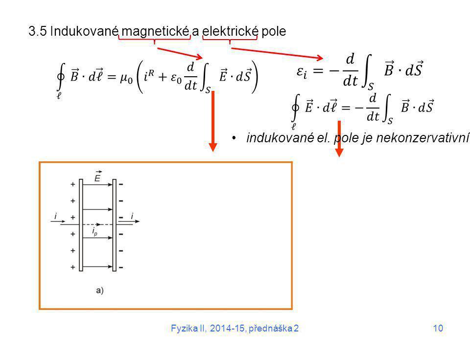 3.5 Indukované magnetické a elektrické pole indukované el. pole je nekonzervativní Fyzika II, 2014-15, přednáška 2 10