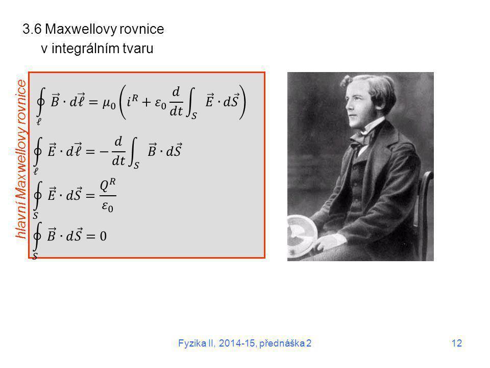 3.6 Maxwellovy rovnice v integrálním tvaru hlavní Maxwellovy rovnice Fyzika II, 2014-15, přednáška 2 12
