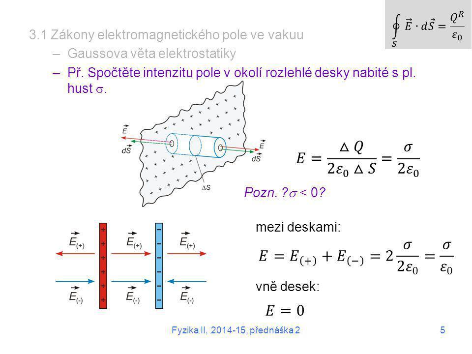 5 Fyzika II, 2014-15, přednáška 2 3.1 Zákony elektromagnetického pole ve vakuu –Gaussova věta elektrostatiky –Př. Spočtěte intenzitu pole v okolí rozl