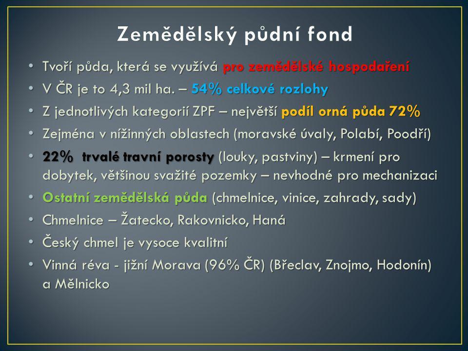 Tvoří půda, která se využívá pro zemědělské hospodaření Tvoří půda, která se využívá pro zemědělské hospodaření V ČR je to 4,3 mil ha. – 54% celkové r