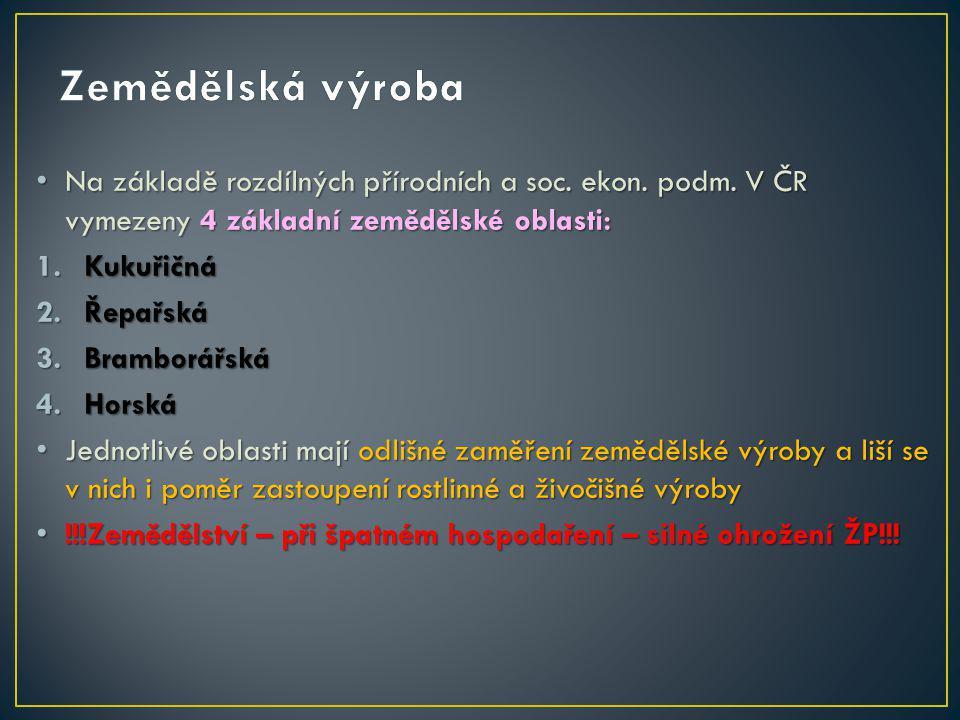 Na základě rozdílných přírodních a soc. ekon. podm. V ČR vymezeny 4 základní zemědělské oblasti: Na základě rozdílných přírodních a soc. ekon. podm. V