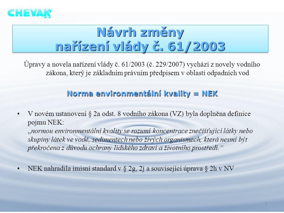 Návrh změny nařízení vlády č. 61/2003 Úpravy a novela nařízení vlády č. 61/2003 (č. 229/2007) vychází z novely vodního zákona, který je základním práv