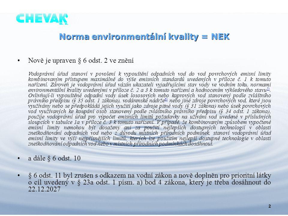 Norma environmentální kvality = NEK Nově je upraven § 6 odst. 2 ve znění Vodoprávní úřad stanoví v povolení k vypouštění odpadních vod do vod povrchov