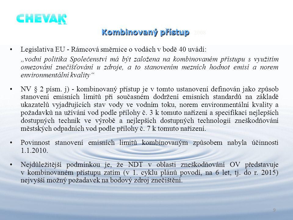 """Kombinovaný přístup Kombinovaný přístup – 2008 Legislativa EU - Rámcová směrnice o vodách v bodě 40 uvádí: """"vodní politika Společenství má být založen"""
