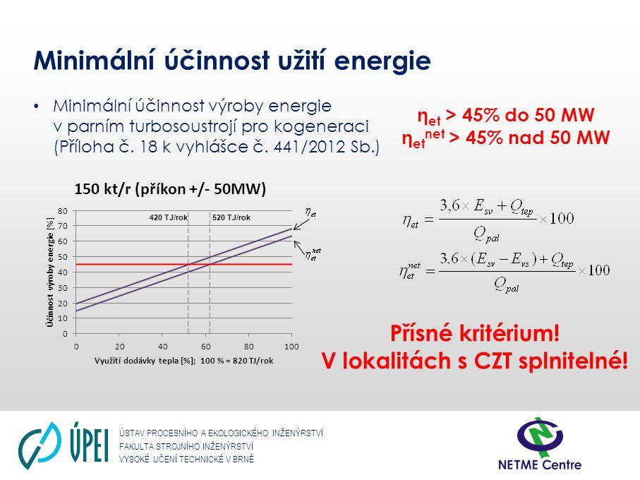 ÚSTAV PROCESNÍHO A EKOLOGICKÉHO INŽENÝRSTVÍ FAKULTA STROJNÍHO INŽENÝRSTVÍ VYSOKÉ UČENÍ TECHNICKÉ V BRNĚ Minimální účinnost užití energie Minimální úči