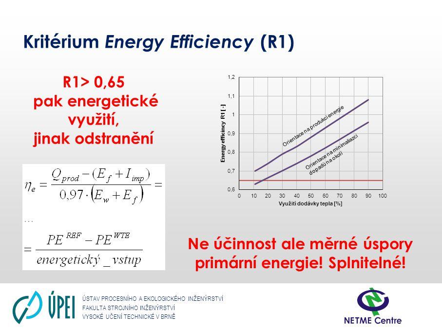 ÚSTAV PROCESNÍHO A EKOLOGICKÉHO INŽENÝRSTVÍ FAKULTA STROJNÍHO INŽENÝRSTVÍ VYSOKÉ UČENÍ TECHNICKÉ V BRNĚ Kritérium Energy Efficiency (R1) R1> 0,65 pak