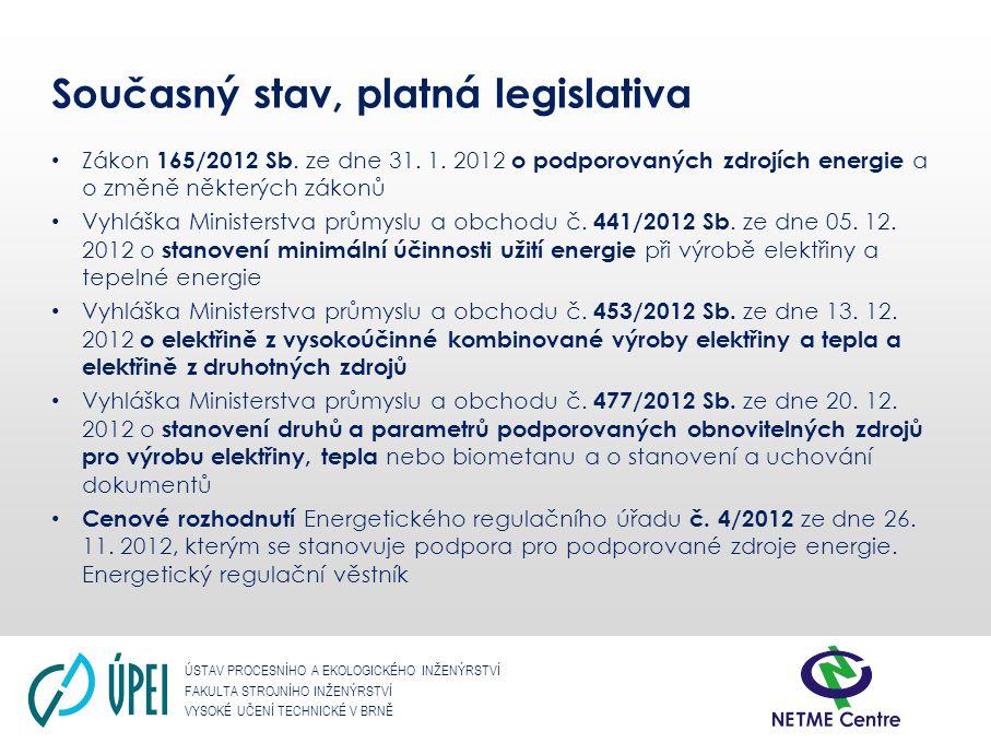 ÚSTAV PROCESNÍHO A EKOLOGICKÉHO INŽENÝRSTVÍ FAKULTA STROJNÍHO INŽENÝRSTVÍ VYSOKÉ UČENÍ TECHNICKÉ V BRNĚ Rozhodující je instalovaný elektrický výkon: - v případě kogenerace podpora jen do 7,5 MW Výše podpory 50 Kč/GJ Podporu výroby tepla využijí pouze technologie s nižší zpracovatelskou kapacitou.