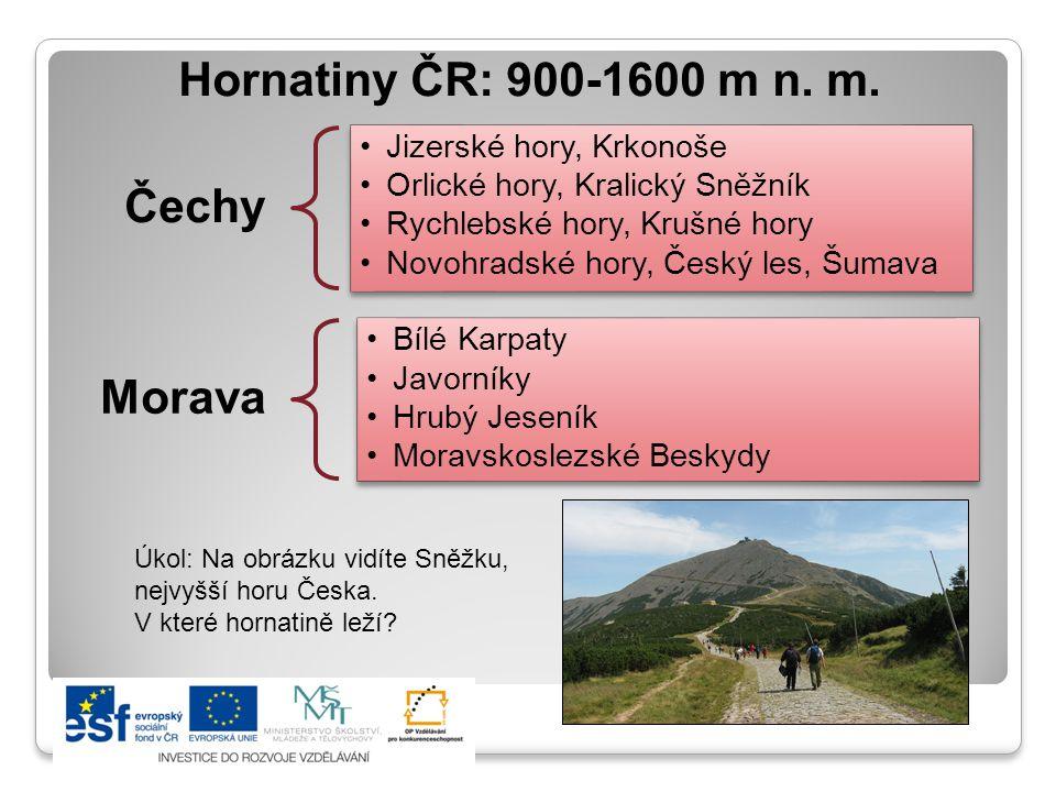Hornatiny ČR: 900-1600 m n.m.