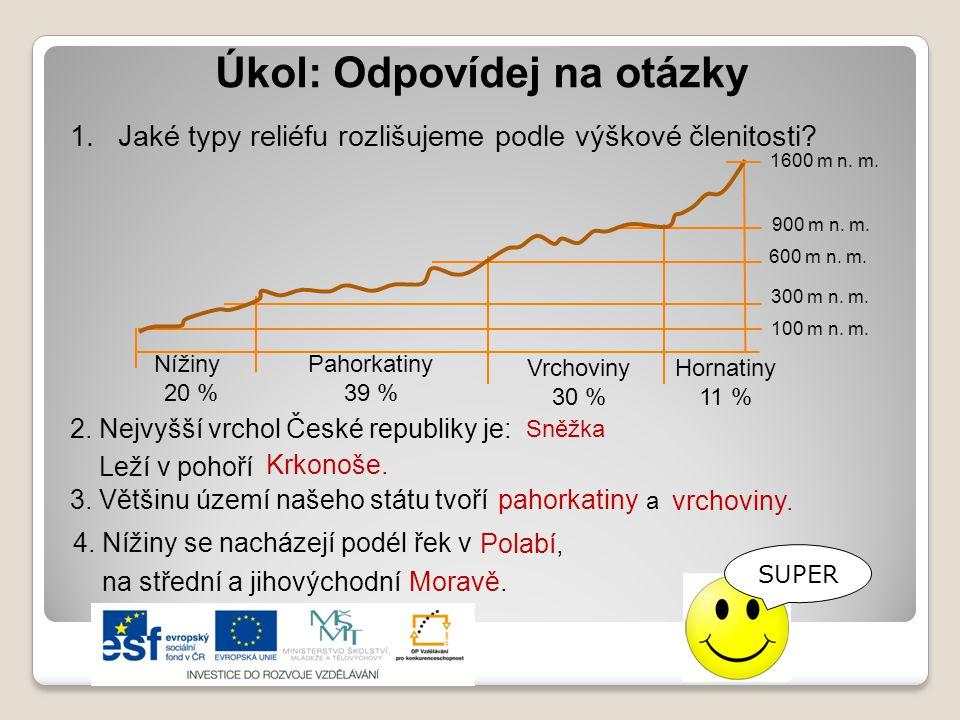 Úkol: Odpovídej na otázky 2.Nejvyšší vrchol České republiky je: 3.