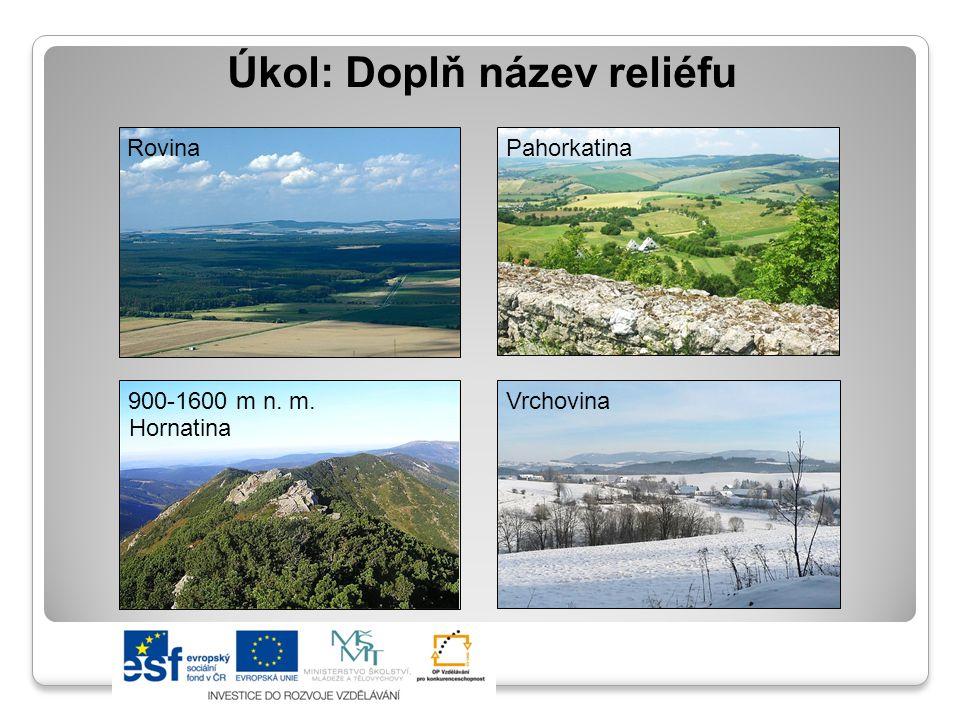 Úkol: Doplň název reliéfu RovinaPahorkatina Vrchovina900-1600 m n. m. Hornatina