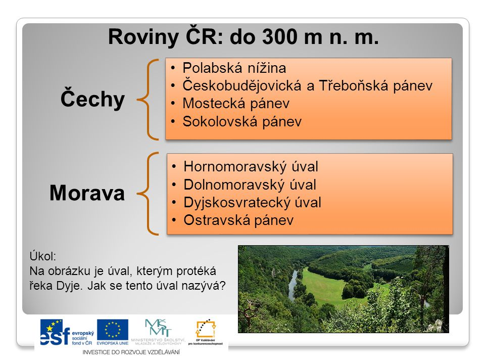 Roviny ČR: do 300 m n.m.