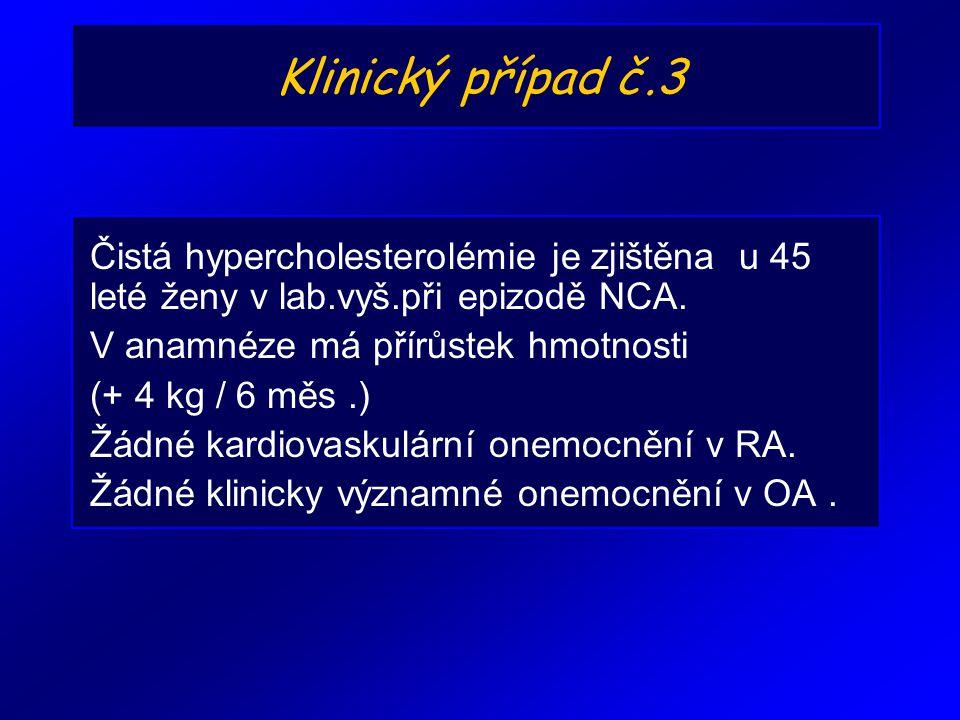 Klinický případ č.3 Čistá hypercholesterolémie je zjištěna u 45 leté ženy v lab.vyš.při epizodě NCA. V anamnéze má přírůstek hmotnosti (+ 4 kg / 6 měs