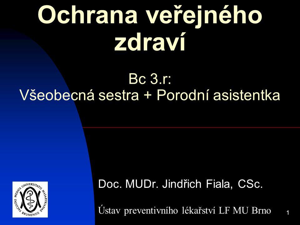 1 Ochrana veřejného zdraví Doc. MUDr. Jindřich Fiala, CSc. Ústav preventivního lékařství LF MU Brno Bc 3.r: Všeobecná sestra + Porodní asistentka